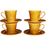 SET OF 4: Homer Laughlin Granada Golden Harvest Coffee Cups & Saucers