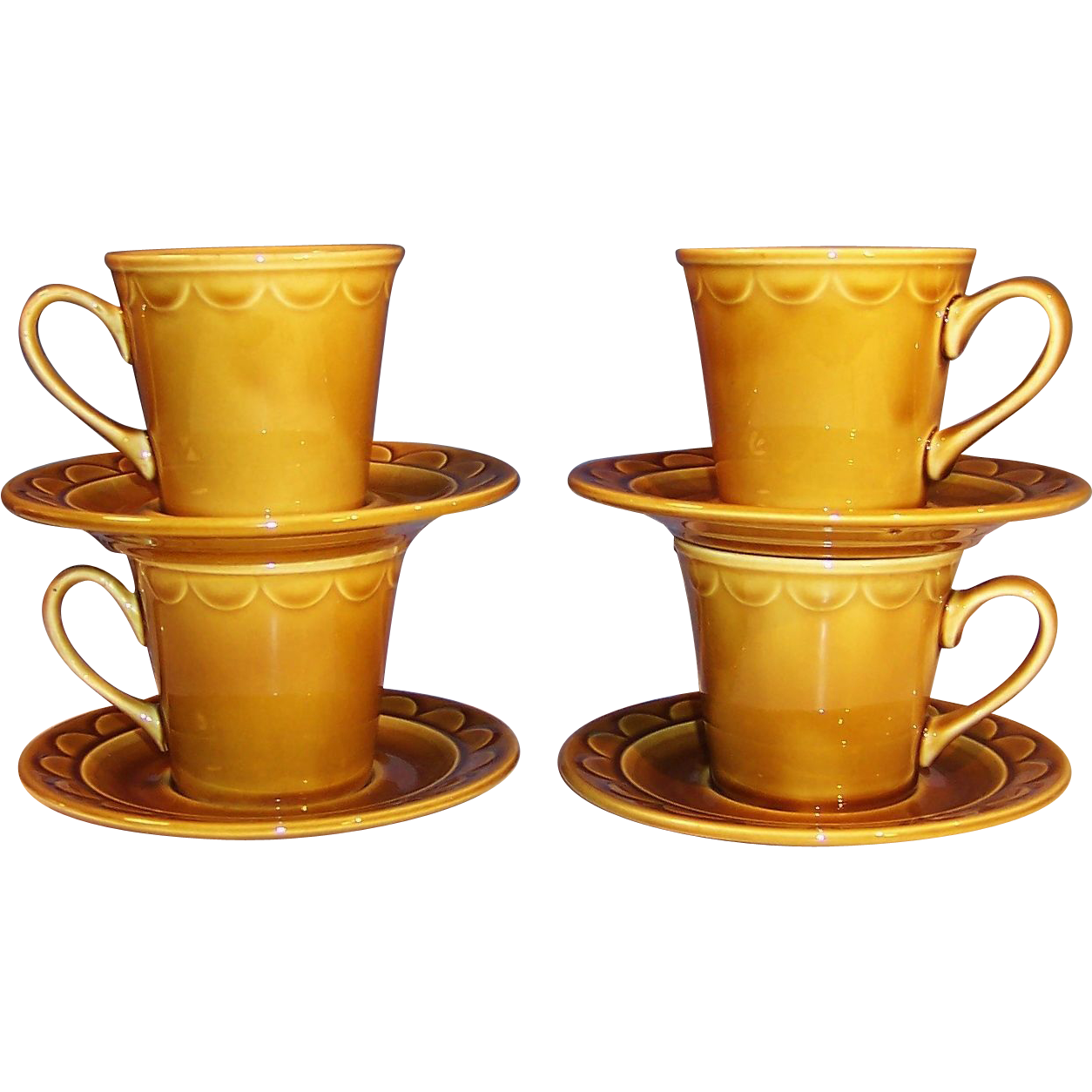 SET OF 4:  1960's Granada Coventry Castilian Harvest Gold Cups and Saucers