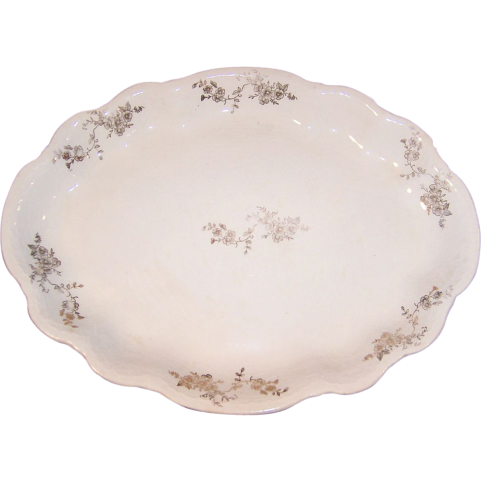 Early 1900's Homer Laughlin Hudson Gold Floral Platter (Small)