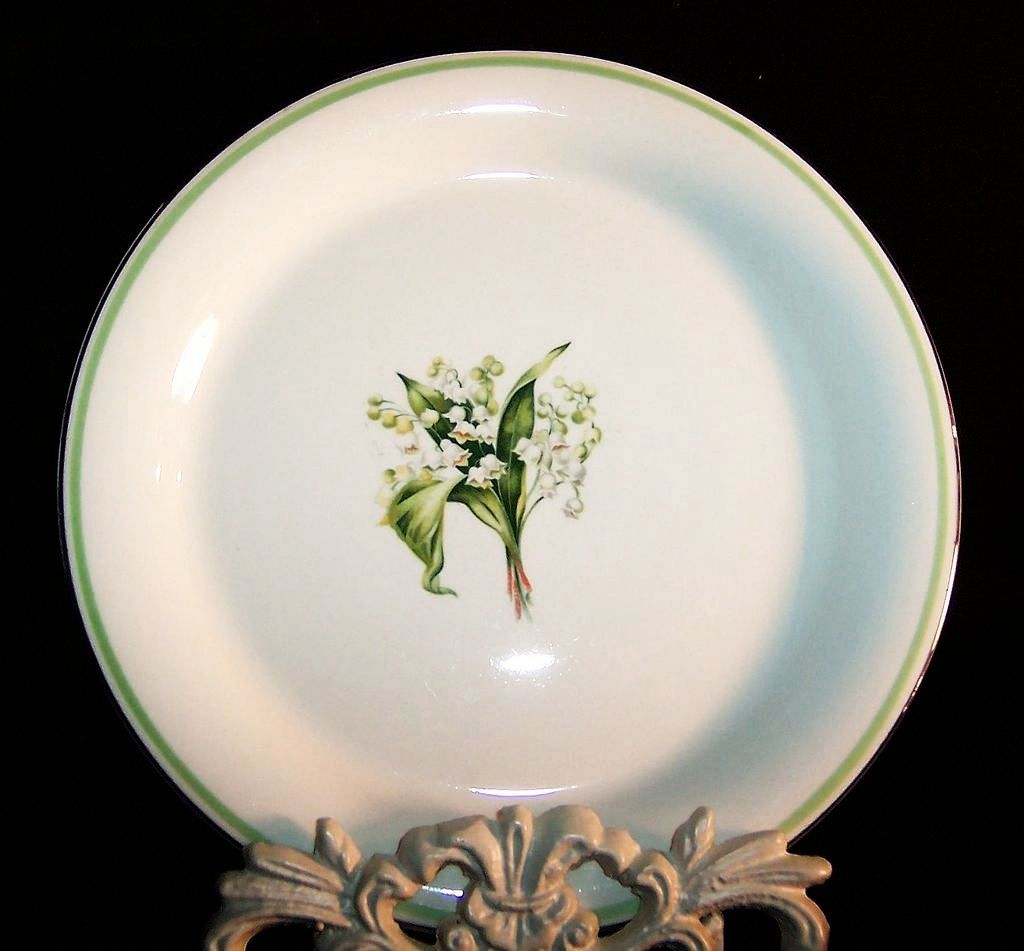 "Homer Laughlin Lily of the Valley Swing 8"" Salad Plates  (4 AVAIL.)"