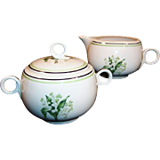 Homer Laughlin Swing Lily of the Valley Sugar & Creamer