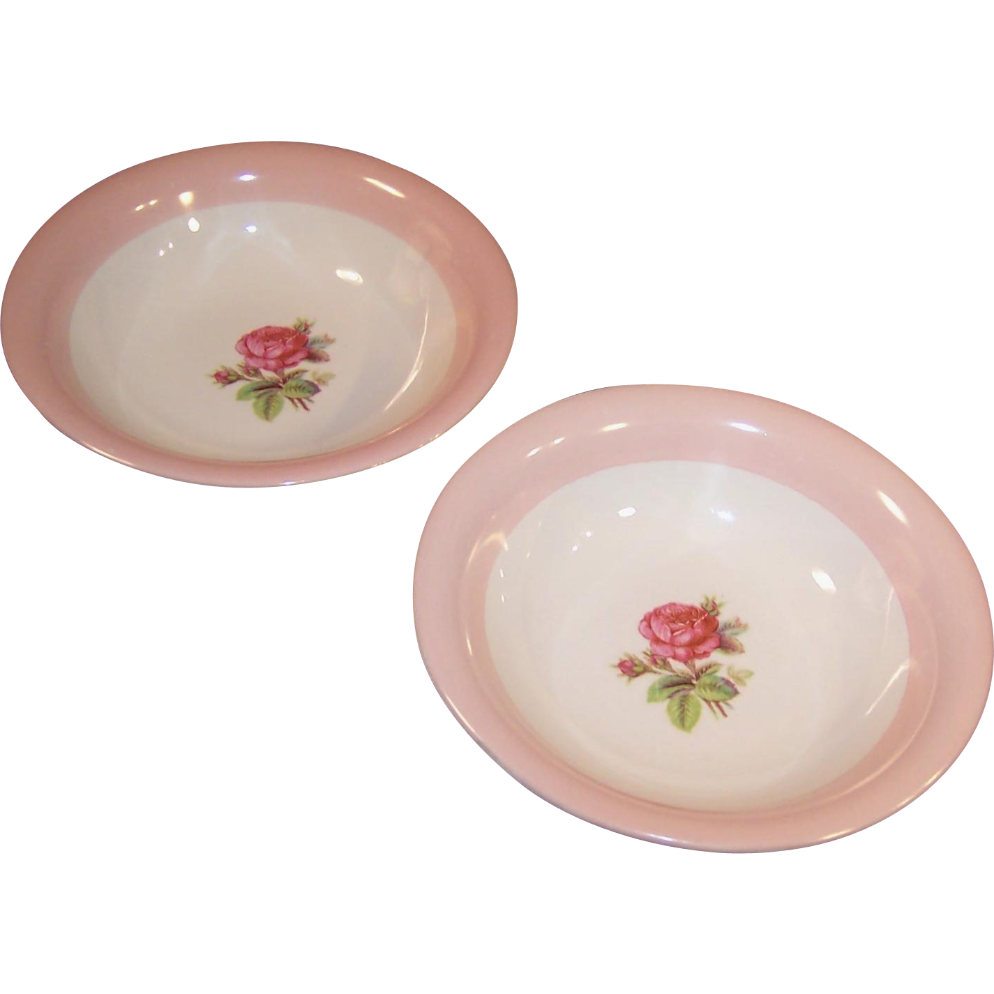 "SET OF TWO: Homer Laughlin Moss Rose 5 3/4"" Dessert or Berry Bowls"
