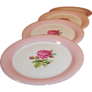 "SET of FOUR: Homer Laughlin Swing Moss Rose 6 1/8"" Dessert Plates"