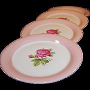 "SET of FOUR: Homer Laughlin Swing Moss Rose 6 1/8"" Dessert Plates"