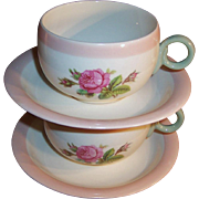 SET of 2:  1940's Homer Laughlin Swing Moss Rose Cups & Saucers