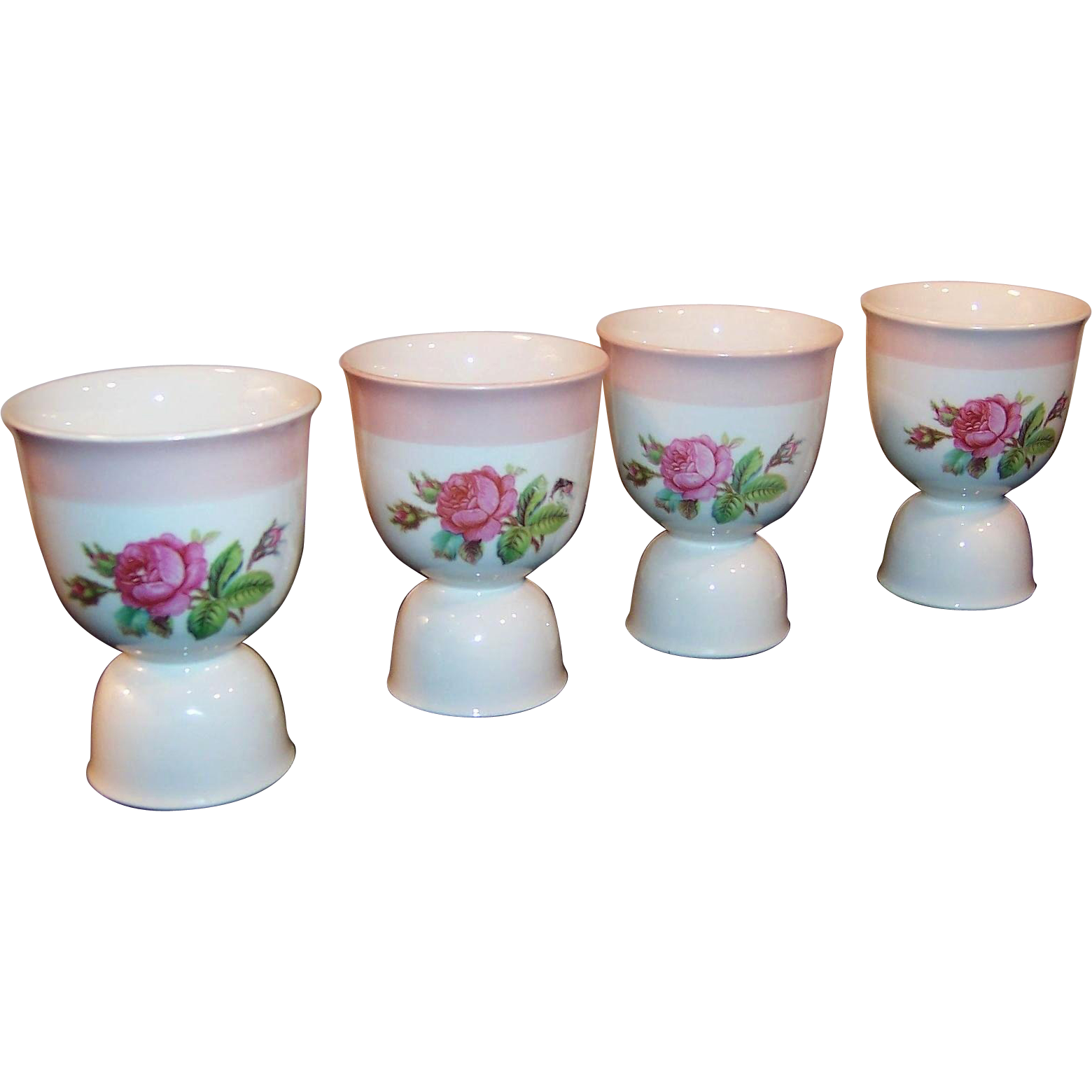 SET of 4: Homer Laughlin Moss Rose Egg Cups