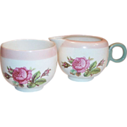 Homer Laughlin Moss Rose Demitasse Open Creamer & Sugar