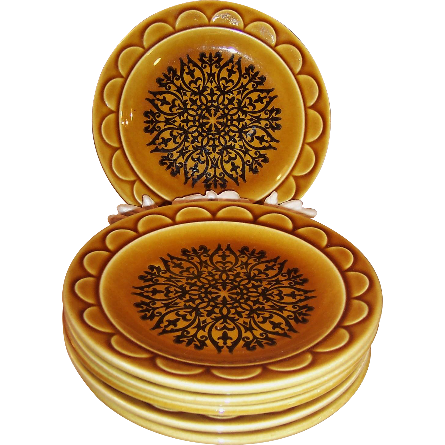 SET OF 6: 1960's Granada Coventry Castilian Harvest Gold Dessert Plates