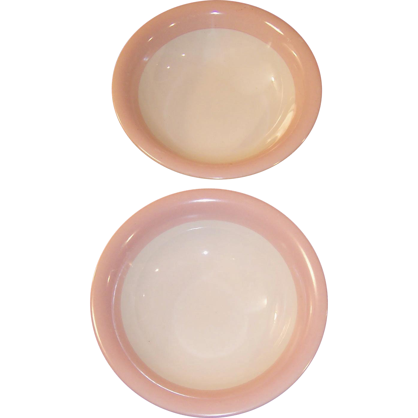 "SET OF TWO: Homer Laughlin Swing Pink Organdy Fruit / Dessert Bowls (5 5/8"")"