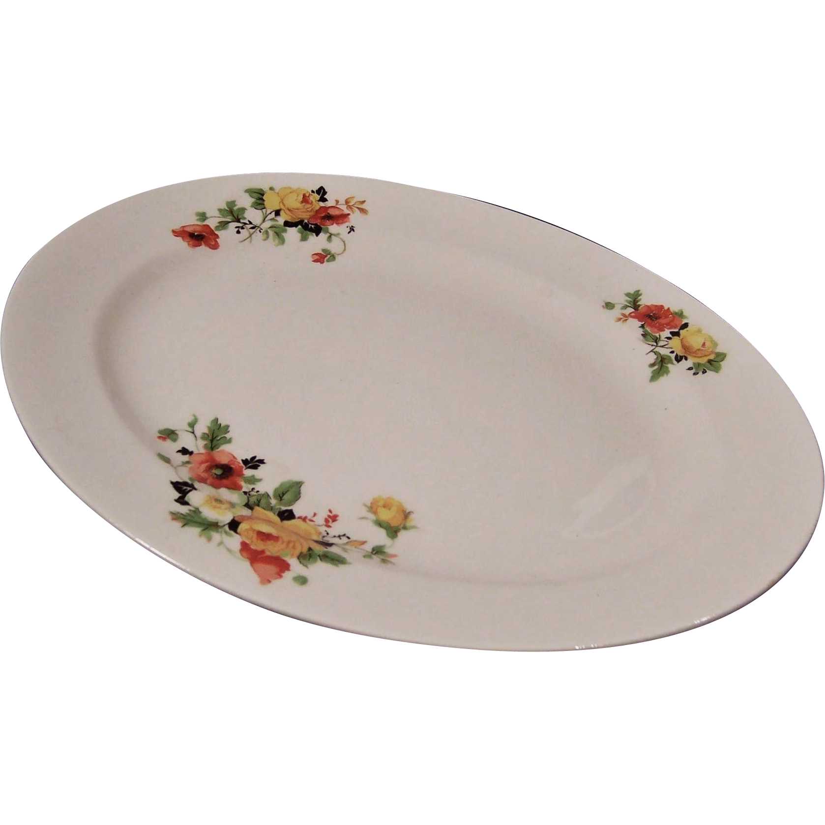 Homer Laughlin Poppy & Rose Platter