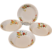 "SET of 4: Homer Laughlin Poppy & Rose 8"" Soup Bowls"