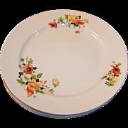 SET of FOUR: Homer Laughlin Poppy & Rose Dinner Plates