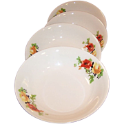 "ONE SET of FOUR: Laughlin Poppy & Rose Fruit / Berry Bowls (5 1/16"")"