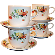 SET of FOUR: Homer Laughlin Poppy Rose Cups & Saucers