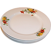 "SET of FOUR: 8 1/4"" Homer Laughlin Poppy & Rose Plates (Excellent)"