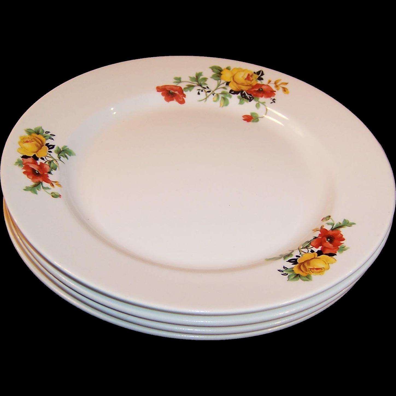 "SET of FOUR: 8 1/4"" Homer Laughlin Poppy & Rose Plates (Excellent)"