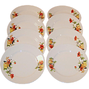 """SETS of 4: Homer Laughlin Poppy & Rose 6"""" Bread & Butter Plates (2 Sets Avail.)"""