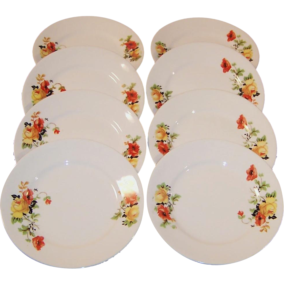 "SETS of 4: Homer Laughlin Poppy & Rose 5 7/8"" Bread & Butter Plates (2 Sets Avail.)"
