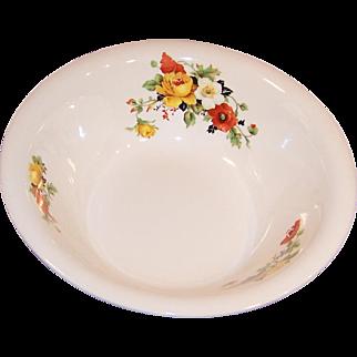 Large & Deep Serving Bowl Homer Laughlin Poppy & Rose (Imperfect)