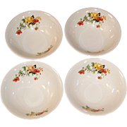 "SET of 4: Excellent! 6"" Cereal Bowls Homer Laughlin Poppy & Rose"