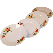 "SET of 4:  6"" Homer Laughlin Poppy & Rose  Bread & Butter Plates"