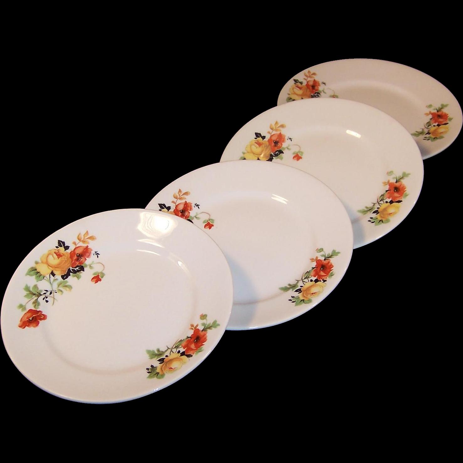 """SET of 4:  6"""" Homer Laughlin Poppy & Rose  Bread & Butter Plates"""