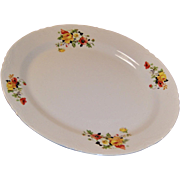 HUGE!  Homer Laughlin Poppy & Rose Turkey Platter 15 1/2""
