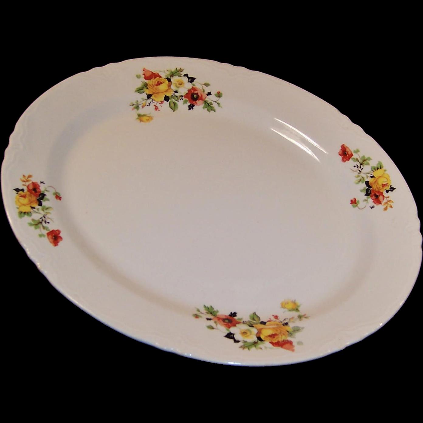 """HUGE!  Homer Laughlin Poppy & Rose Turkey Platter 15 1/2"""""""