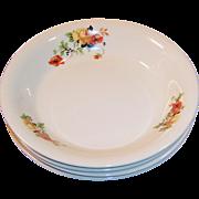 "SET of 4: Homer Laughlin Poppy & Rose 8"" Soup Bowls"