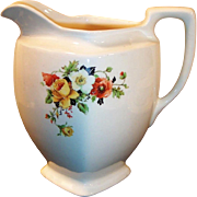 Large Homer Laughlin Kwaker Poppy Rose 1 1/2 Quart Pitcher / Jug