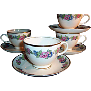 1940's Homer Laughlin: Bristol Pattern   SET of 4 Cup & Saucer Sets