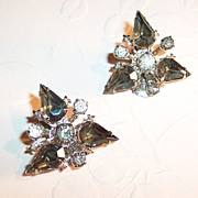 Smokey Tear Drops, Chaton Rhinestones, & Fleur De Lis Earrings