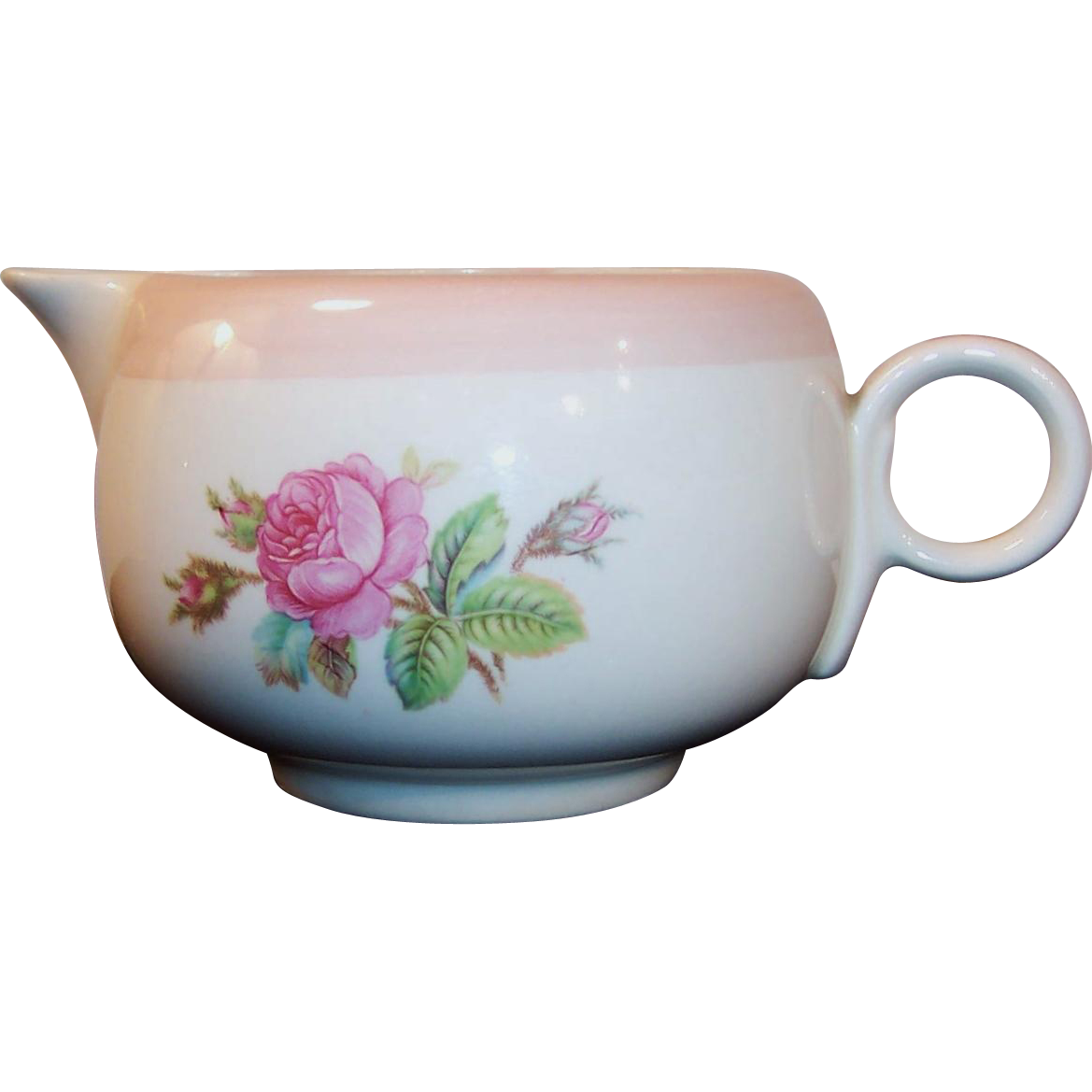 Homer Laughlin Swing Moss Rose Creamer
