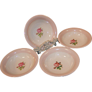 Set of 4: Laughlin Eggshell Moss Rose Dessert (Berry) Bowls