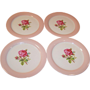 "FOUR 9 1/4"" Homer Laughlin Swing Moss Rose Dinner Plates"