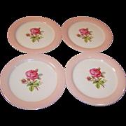 FOUR Homer Laughlin Swing Moss Rose Dinner Plates