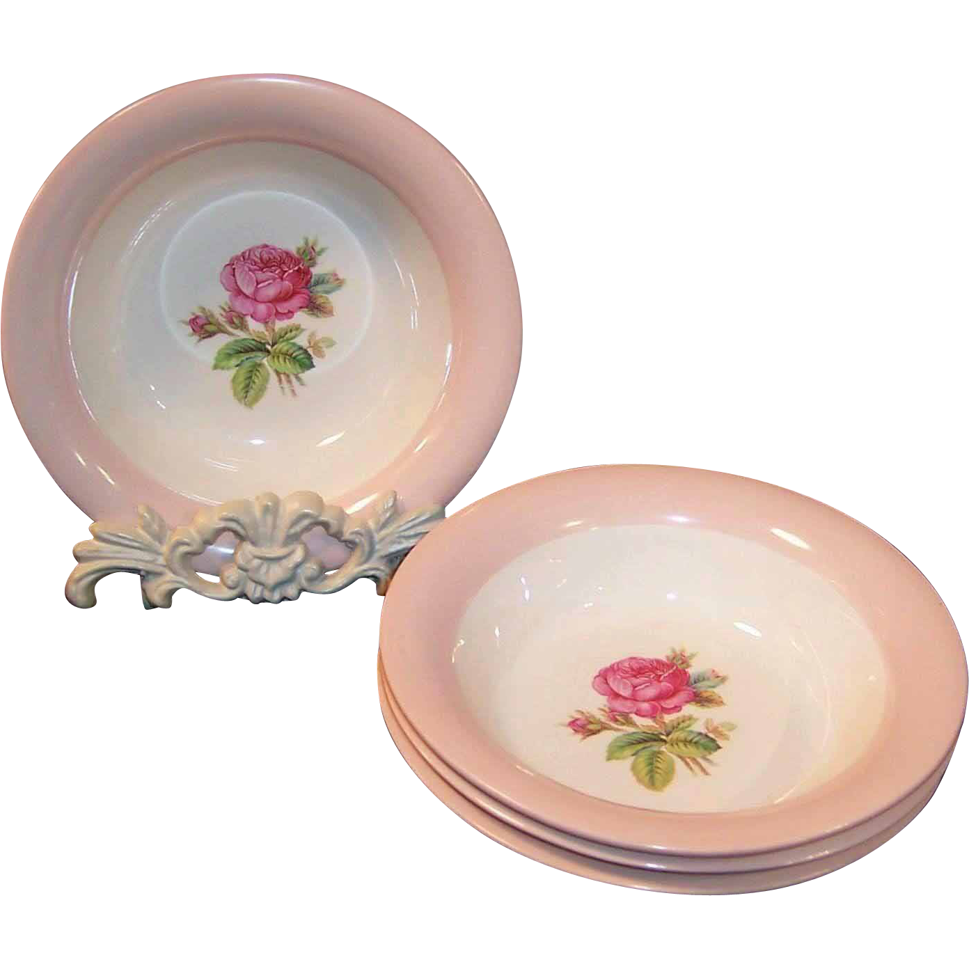 (Set of 4) Homer Laughlin Swing Moss Rose Cereal Bowls