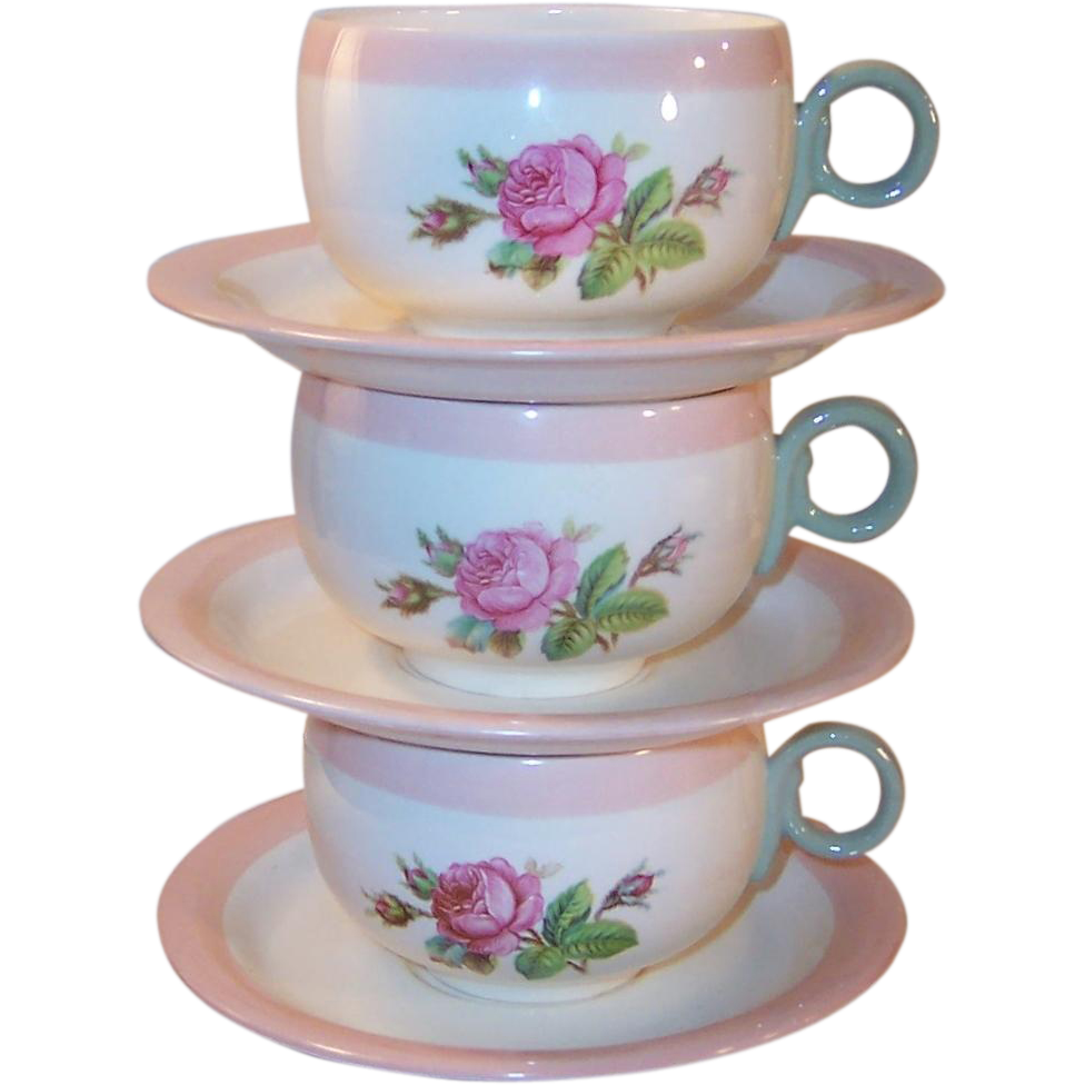 SET of 3: 1940's Homer Laughlin Swing Moss Rose Cups & Saucers