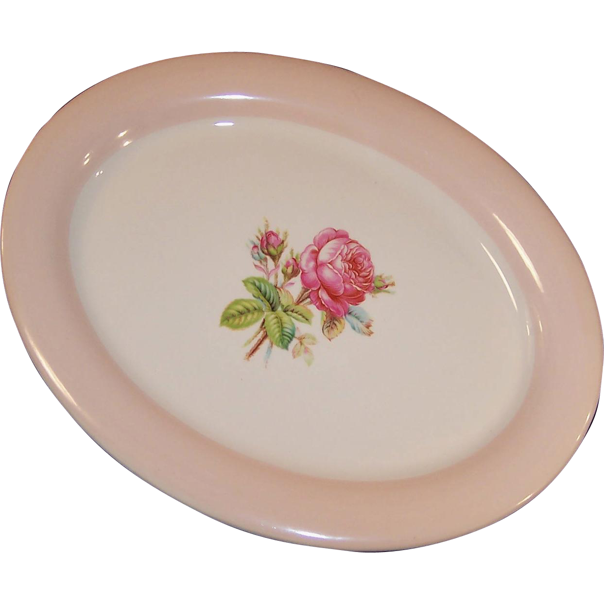 Homer Laughlin Swing Moss Rose Oval Serving Platter