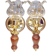 Homco Home Interiors Brass & Wood Sconces