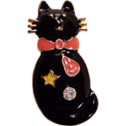 Not So Scary Black Enamel Cat Pin