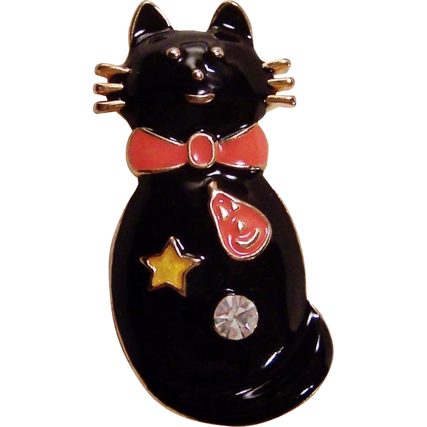 Not So Scary Black Enamel Cat Pin