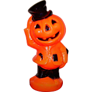 Vintage Halloween Light Up Blow Mold Jack-O-Lantern Pumpkin Scarecrow Empire Plastic
