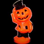 Vintage Halloween Light Up Blow Mold Jack-O-Lantern Pumpkin Scarecrow Empire Plastic