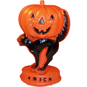Vintage Halloween Light Up Blow Mold Jack-O-Lantern Pumpkin & Black Cat