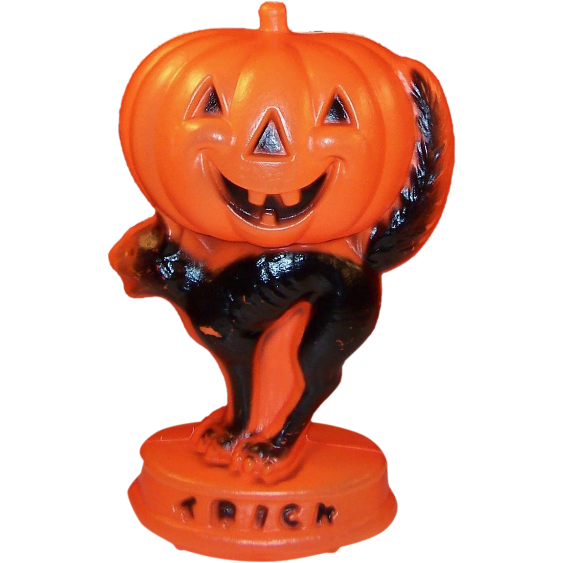 Vintage Halloween Light Up Blow Mold Jack-O-Lantern Pumpkin & Black Cat