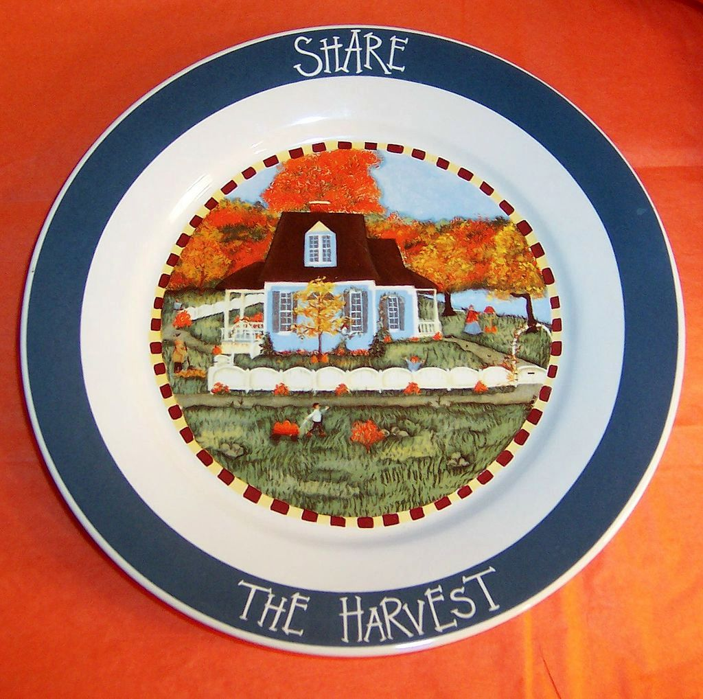 """Share The Harvest""  Fall Vintage Decorative Plate"