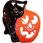 Large Black Cat and Jack-O-Lantern Halloween Enamel Pin