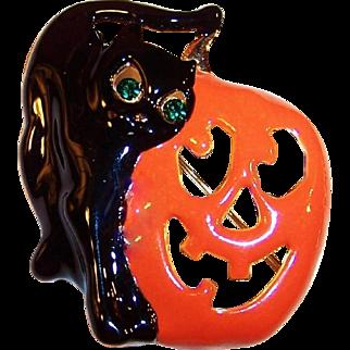 Large Black Cat and Jack-O-Lantern Halloween Enamel Pin