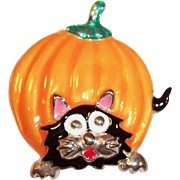 Halloween Pumpkin and Cat Pin